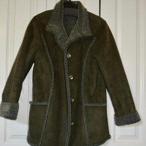 LL Bean Green Faux Suede & Sherpa Coat M Reg